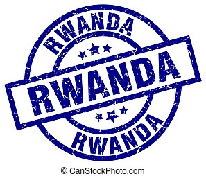 Rwanda blue round grunge stamp