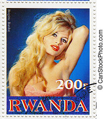 RWANDA - CIRCA 2001 : Stamp printed in Rwanda with actress...