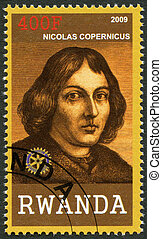 RWANDA - CIRCA 2009: A stamp printed in Republic of Rwanda shows portrait of Nicolaus Copernicus (1473-1543), circa 2009