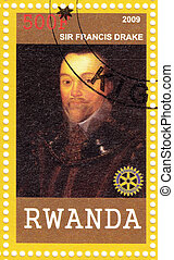 RWANDA - CIRCA 2009: Stamp printed in Rwanda shows Sir Francis Drake English sea captain, privateer, navigator, slaver, a renowned pirate, and politician of the Elizabethan era, circa 2009
