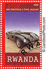RWANDA - CIRCA 2009: stamp printed in Rwanda shows 1952 year Proteus C - Type Jaguar Car, circa 2009