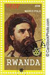 RWANDA - CIRCA 2009: Stamp printed in Rwanda shows Marco Polo - merchant from the Venetian Republic who wrote Il Milione, which introduced Europeans to Central Asia and China, circa 2009