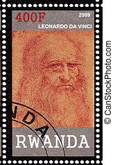 RWANDA - CIRCA 2009: stamp printed in Randa showing Leonardo Da Vinci, circa 2009