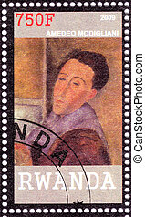 RWANDA - CIRCA 2009: Stamp printed in Rwanda shows Amedeo Modigliani  great painter and sculptor , circa 2009