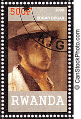 RWANDA - CIRCA 2009: Stamp printed in Rwanda shows Edgar Degas- great French Impressionist artist , circa 2009