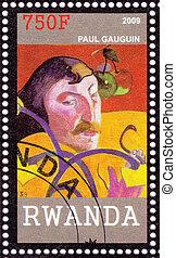 RWANDA - CIRCA 2009: Stamp printed in Rwanda shows Eugene Henri Paul Gauguin -  leading Post-Impressionist painter, circa 2009