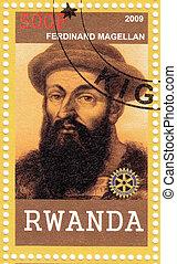 RWANDA - CIRCA 2009: stamp printed in Rwanda shows Ferdinand Magellan - great Portuguese explorer, circa 2009