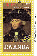 RWANDA - CIRCA 2009 : Stamp printed in  Rwanda shows Horatio Nelson English navy  officer , circa 2009