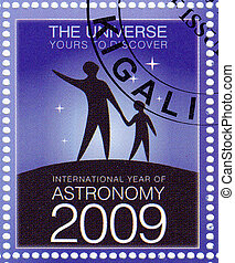 RWANDA - CIRCA 2009 : stamp printed in Rwanda shows International Year of Astronomy, circa 2009