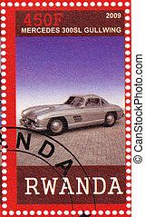 RWANDA - CIRCA 2009: stamp printed in Rwanda shows Mercedes 300SL Gullwing Car, circa 2009