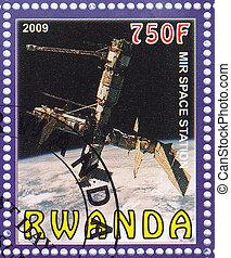 RWANDA - CIRCA 2009 : stamp printed in Rwanda shows Mir space station, circa 2009