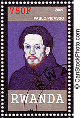 RWANDA - CIRCA 2009: Stamp printed in Rwanda shows Pablo Picasso - great Spanish painter, draughtsman, and sculptor, circa 2009