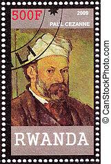 RWANDA - CIRCA 2009: stamp printed in Rwanda shows Paul Cezanne - great French artist and Post-Impressionist painter, circa 2009