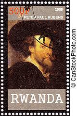 RWANDA - CIRCA 2009: Stamp printed in Rwanda shows Peter Paul Rubens - great Flemish Baroque painter, circa 2009