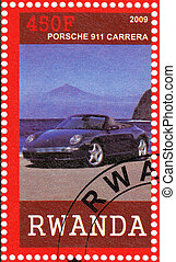 RWANDA - CIRCA 2009: stamp printed in Rwanda shows Porshe 911 Carrera Car, circa 2009