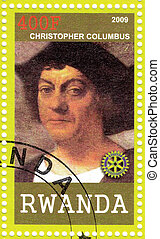 RWANDA - CIRCA 2009 : stamp printed in Rwanda shows portrait of Christopher Columbus, circa 2009