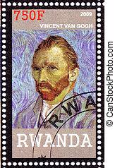 RWANDA - CIRCA 2009: Stamp printed in Rwanda shows Vincent Van Gogh - great Dutch Post-Impressionist painter, circa 2009
