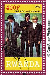RWANDA - CIRCA 2009 : stamp printed in Rwanda with famous rock group The Rolling Stones, circa 2009