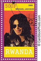 RWANDA - CIRCA 2009 : Stamp printed in  Rwanda shows american pop singer Michael Jackson circa 2009