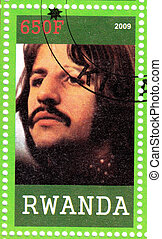 RWANDA - CIRCA 2009 : stamp printed in Rwanda, Ringo Starr from The Beatles in 1960s famous musical pop group, circa 2009
