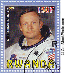 Rwanda - CIRCA 2009 : stamp printed in Rwanda show Neil Armstrong first man on the moon, circa 2009
