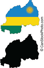 rwanda - vector map and flag of Rwanda with white...
