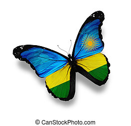 Rwanda flag butterfly, isolated on white