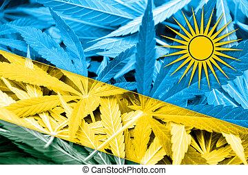 Rwanda Flag on cannabis background. Drug policy. ...