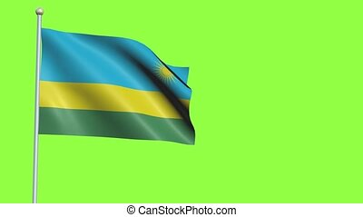 Rwanda Flag in 3D render with green screen background in Slow Motion