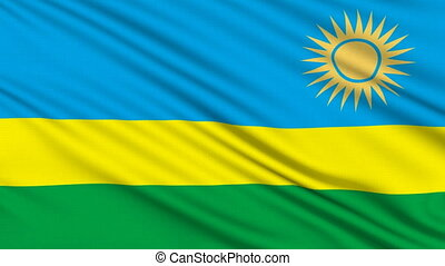 Rwanda Flag, with real structure of a fabric