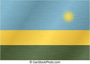 Rwanda flag with title on the white background, vector