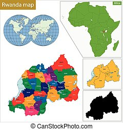 Rwanda map - Administrative division of the Republic of...