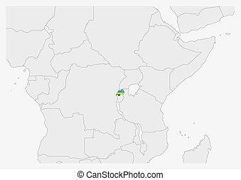 Rwanda map highlighted in Rwanda flag colors, gray map with neighboring countries.