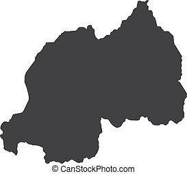 Rwanda map in black on a white background. Vector illustration