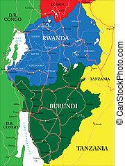Rwanda map - Highly detailed vector map of Rwanda with...