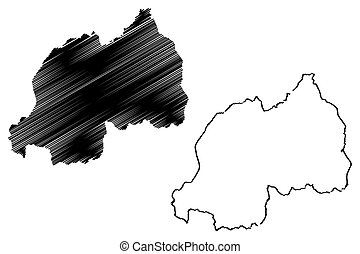 Rwanda map vector illustration, scribble sketch Republic of...