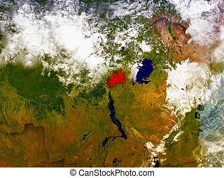 Rwanda on illustrated globe