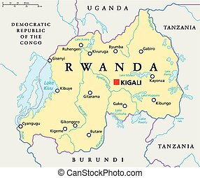 Rwanda Political Map with capital Kigali, national borders,...