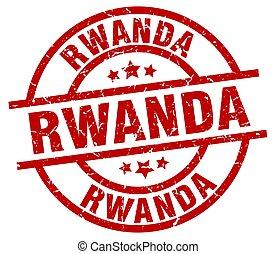 Rwanda red round grunge stamp