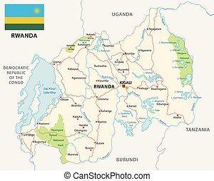 rwanda road and national park map with flag