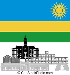 Rwanda - State flag and architecture of the country....