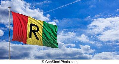 Rwanda waving flag on blue sky. 3d illustration