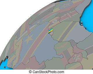 Rwanda with flag on 3D globe