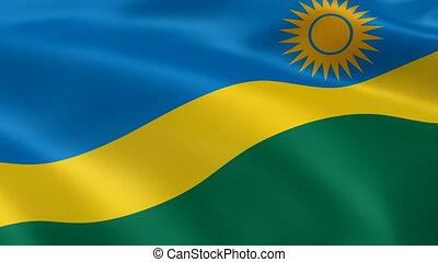 Rwandan flag in the wind