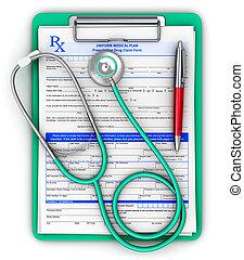 rx, almohadilla prescripcíon, médico, estetoscopio, y, bolígrafo