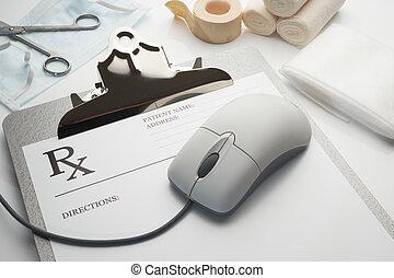 rx, clipboard, recepta, pojęcie, online
