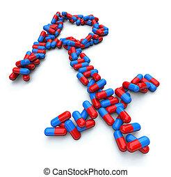 rx, -, gyógyszertár, jelkép, -, kapszula, pirula