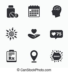 rx., icons., δέλτος , εγκέφαλοs , γιατρικό δέμα