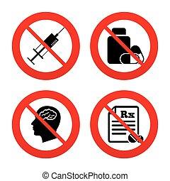 rx., icons., tablettes, cerveau, bouteille médicament