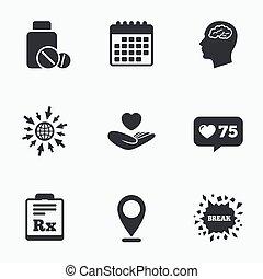 rx., icons., tabuletas, cérebro, garrafa medicina